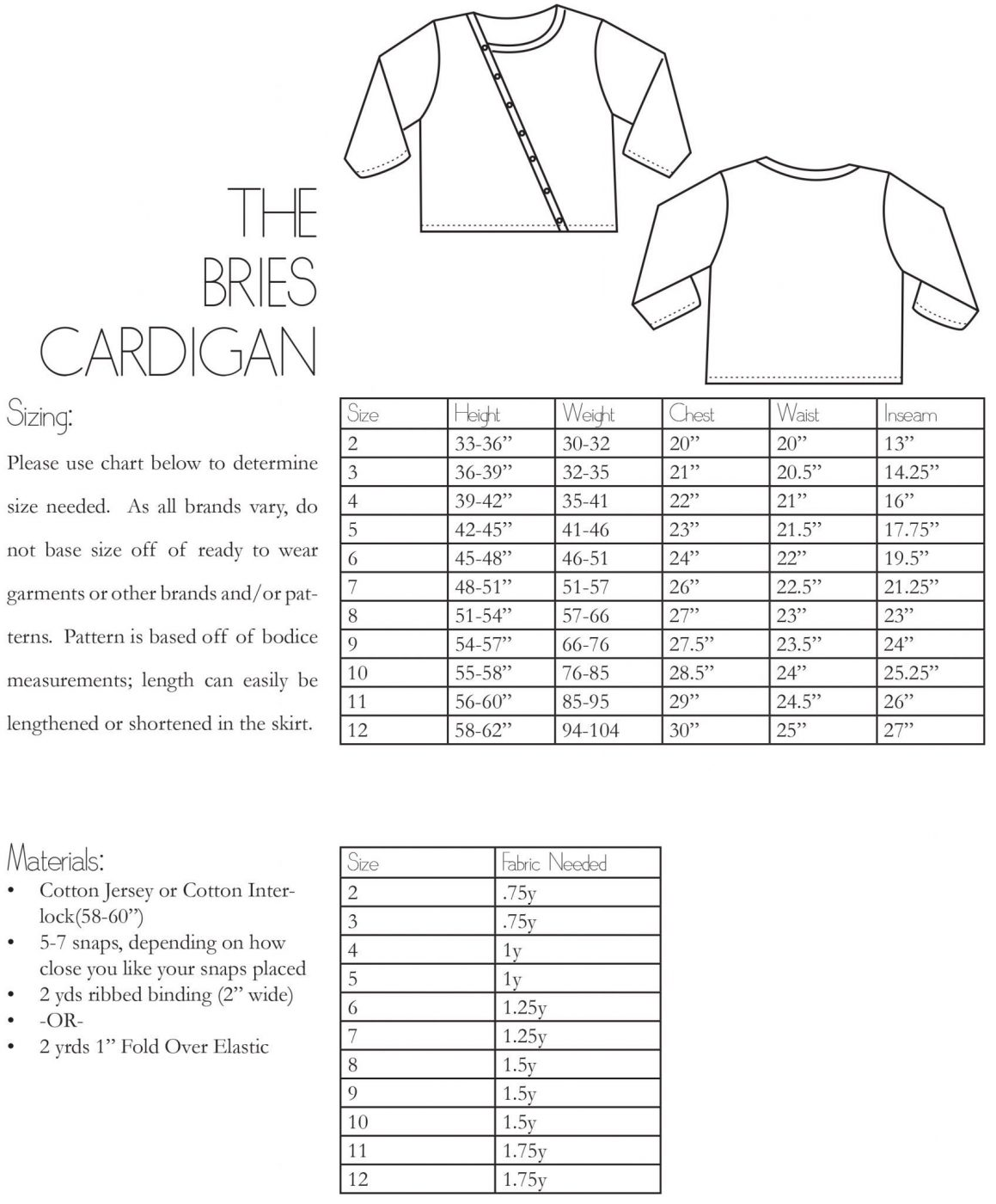 The Bries Cardigan Information