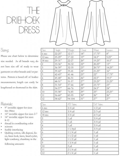 The Driehoek Dress PDF Sewing Pattern Girls
