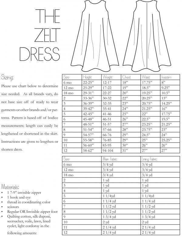 The Zelt Dress PDF Sewing Pattern Girls