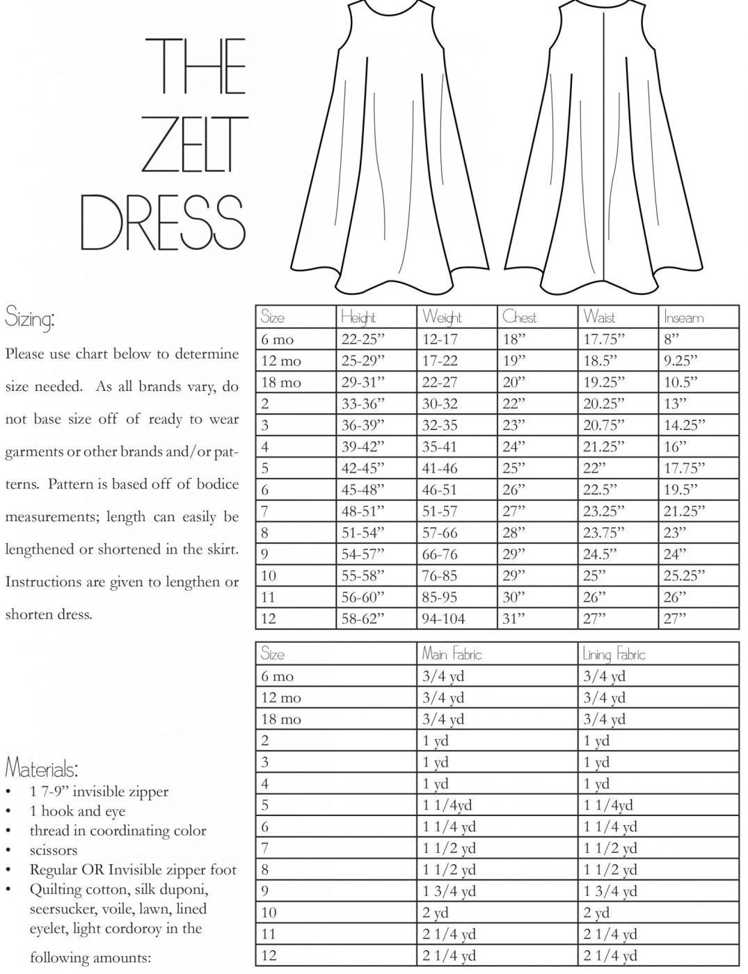 The Zelt Dress Information