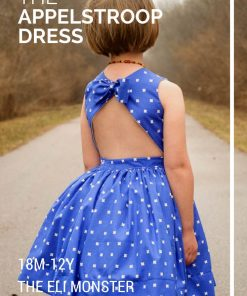 Girl wearing blue dress made from the appelstroop sundress sewing pattern