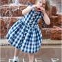 Child wearing dress and saddle shoes