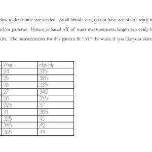 The Zak Skirt Size Chart