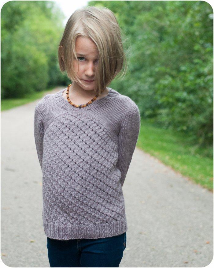 The Astrid Raglan Top Down Girl Sweater Knitting Pattern