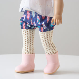 The Doll Tights Knitting Pattern Modeled