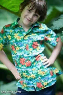 Boy wearing shirt made from The Kamp Shirt camp shirt sewing pattern
