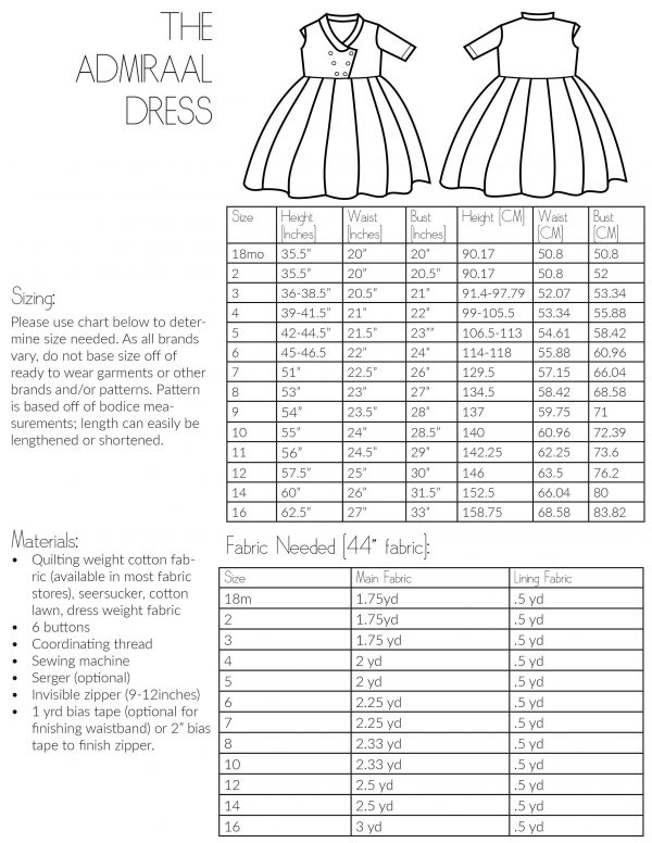 The Admiraal Dress Sewing Pattern Size Chart and Information