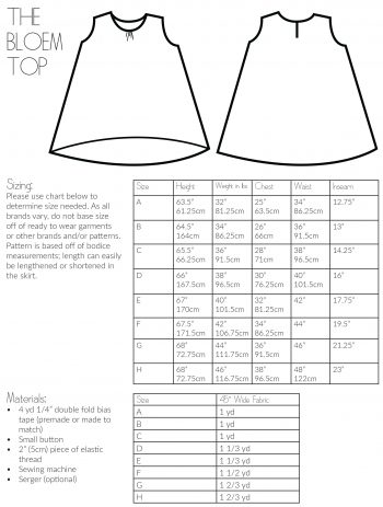 Size Chart for The Bloem Top