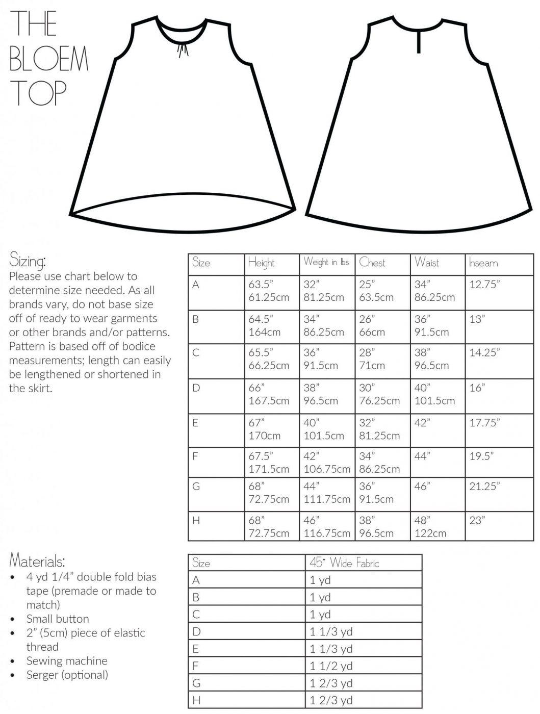 The bloem high low sleeveless top sewing pattern the bloem top sewing pattern size chart for the bloem top jeuxipadfo Gallery