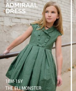 Green shawl collar dress made from The Admiral Dress party dress sewing pattern