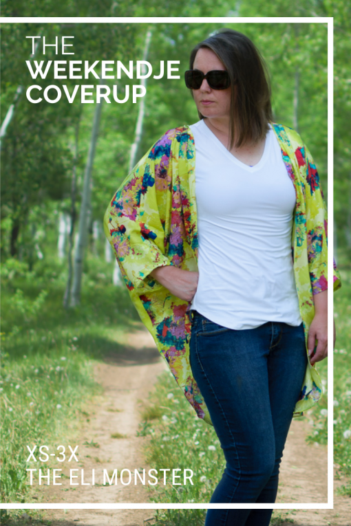 Woman wearing yellow floral cardigan made from The Weekendje Coverup Sewing Pattern