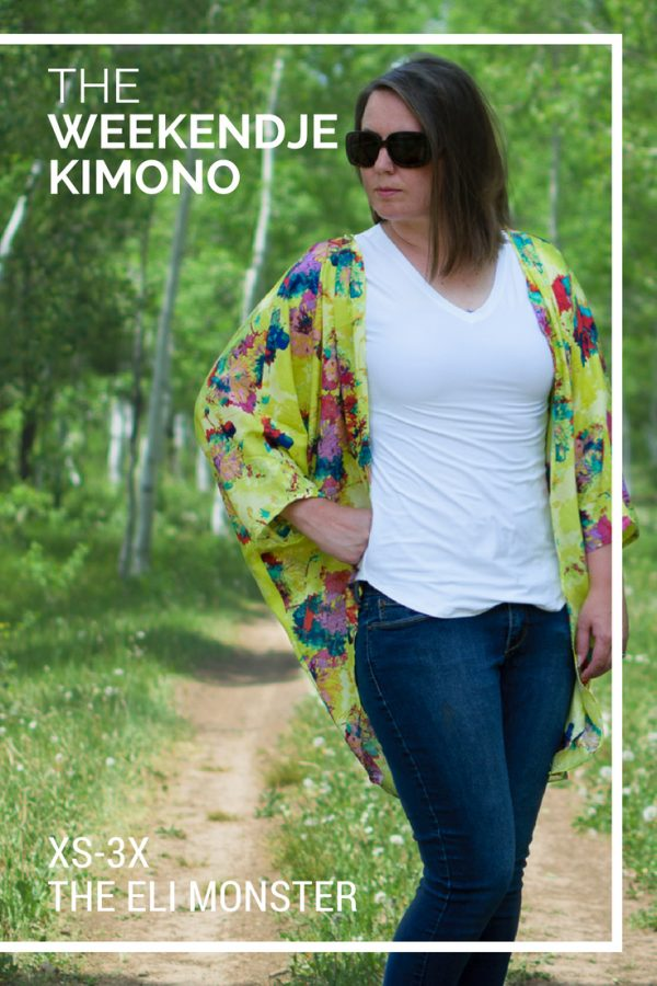 Woman wearing a cover up in lime green with a white shirt and jeans made from the Weekendje kimono sewing pattern