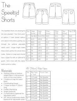 The Speeltijd Shorts Information