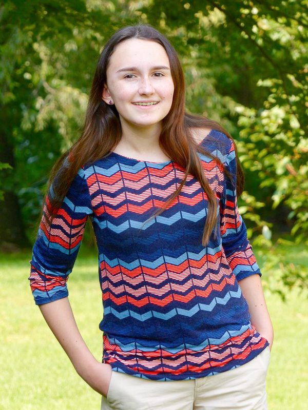 Teen wearing chevron top made from The Maritiem Top Sewing pattern