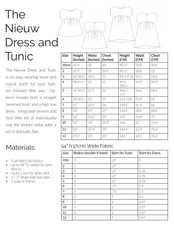 Information charts for The Nieuw Dress and Tunic sewing pattern