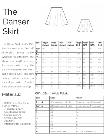 Sizing and materials information image for the danser skirt sewing pattern