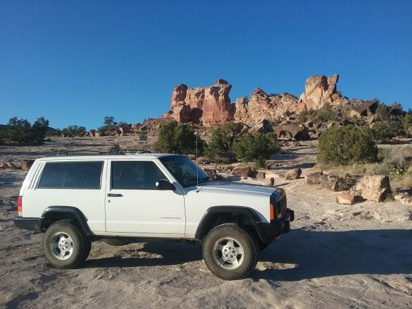 Jeep Cherokee in the desert of southern colorado