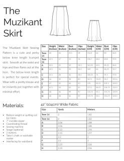 Sizing and Material information for the Muzikant Skirt sewing pattern