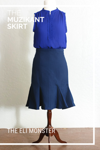 Navy Blue Muzikant Skirt made from trumpet skirt sewing pattern with royal blue blouse.