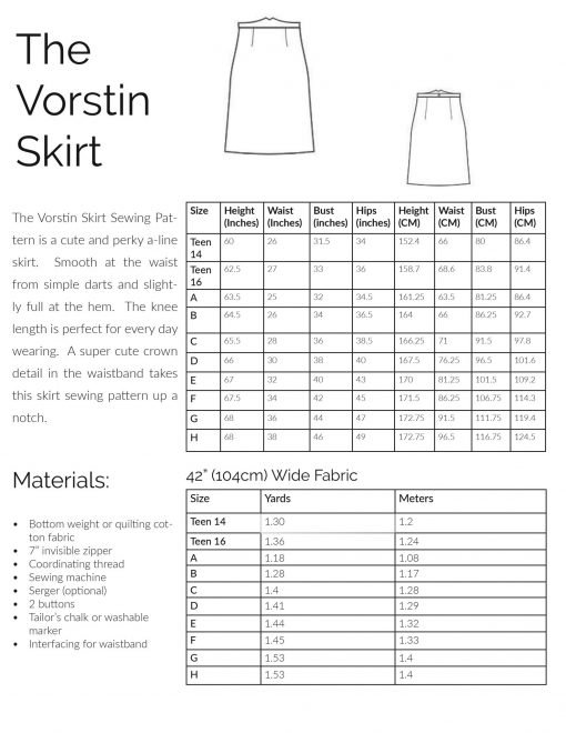 Size and fabric information for the Vorstin skirt sewing pattern