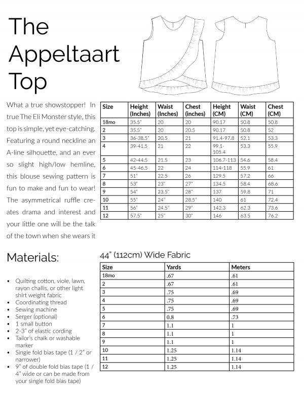 Sizing materials and fabric chart for The Appeltaart Top blouse pdf sewing pattern