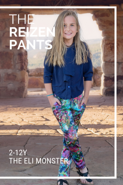 pants sewing pattern in a colorful print with a navy blue blouse