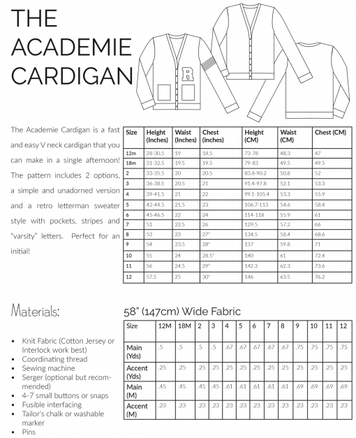 Kids Academie Cardigan Sewing Pattern information charts