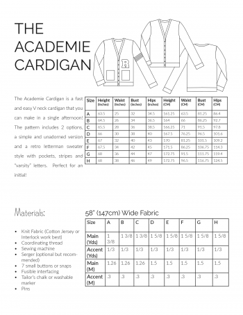 Academy Cardigan Sewing Pattern Information