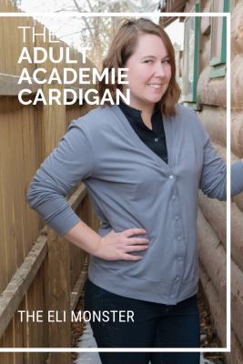 Woman wearing grey cardigan made from the Academie Cardigan Sewing Pattern