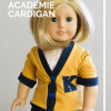 American Girl wearing a yellow shirt from the academie doll cardigan sewing pattern