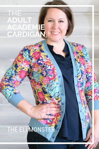Woman wearing floral cardigan made from the adult academie Cardigan sewing pattern