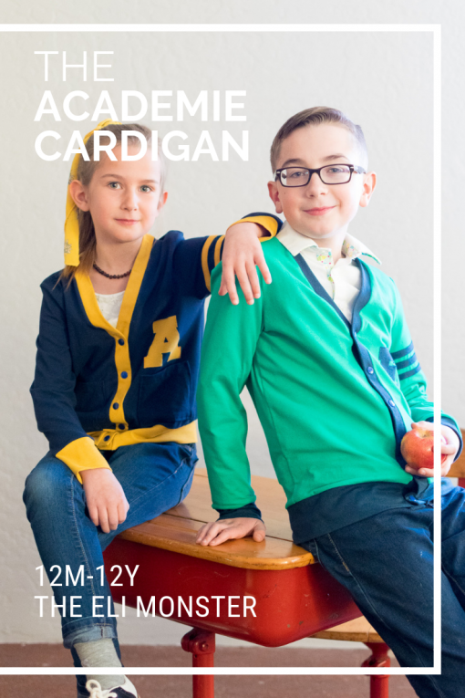Two kids wearing retro letter sweaters made from the academie cardigan sewing pattern for kids