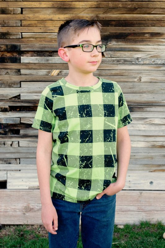Boy wearing green plaid tshirt made from The Drop Tee Sewing Pattern