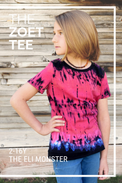 Girl wearing tie dyed tee shirt made from The Zoet Tee Sewing Pattern.