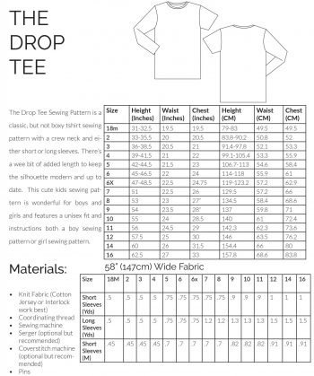 The Drop Tee Sewing pattern Information Page