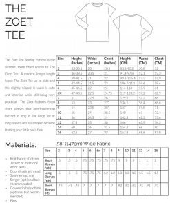 The Zoet Tee sewing pattern Information page