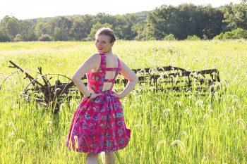 Woman wearing sundress made from the pindakaas dress pdf sewing pattern.
