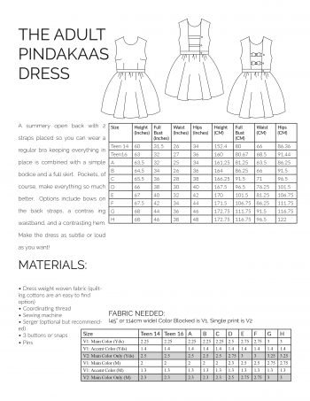 Adult Pindakaas Sundress sewing pattern information