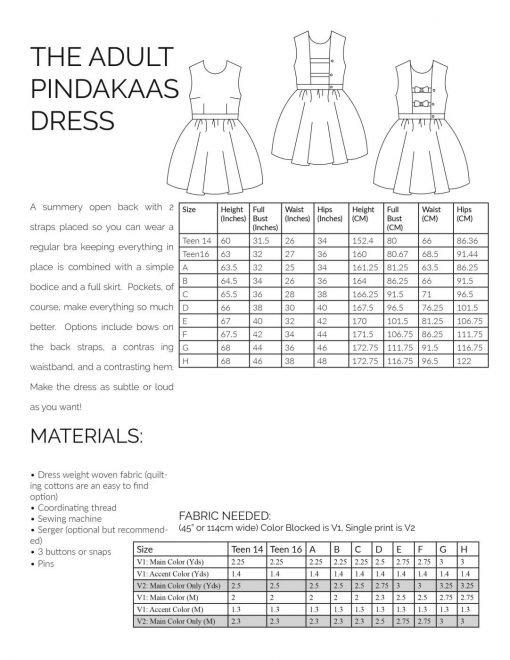 Adult Pindakaas Sundress sewing pattern information