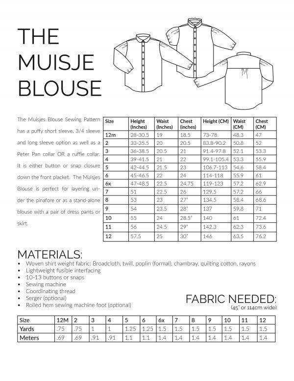 The muisje blouse sewing pattern information