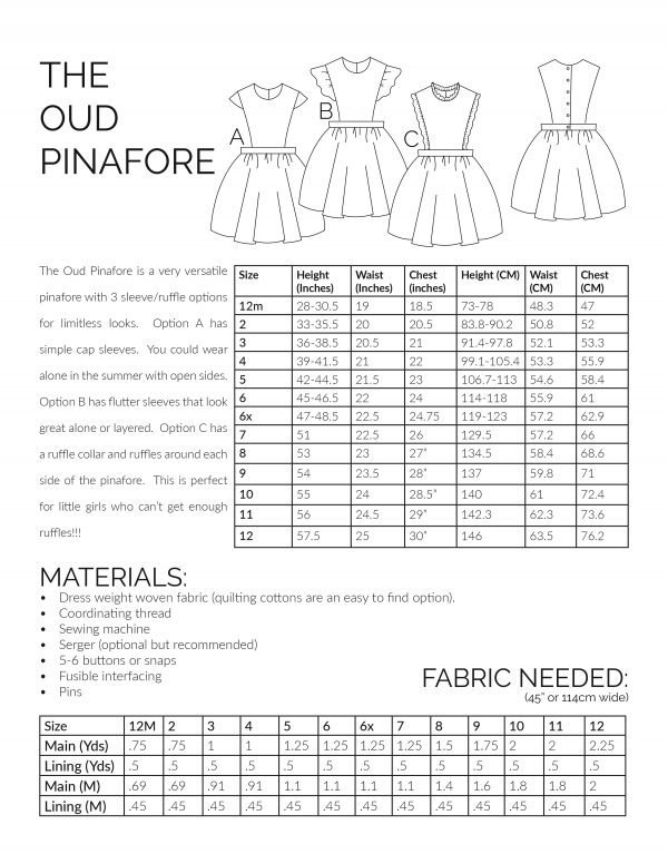 Oud Pinafore sewing pattern informational charts