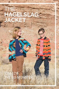 The Hagelslag Jacket Sewing Pattern cover image with 2 kids in southwest style jackets standing in front of a rock