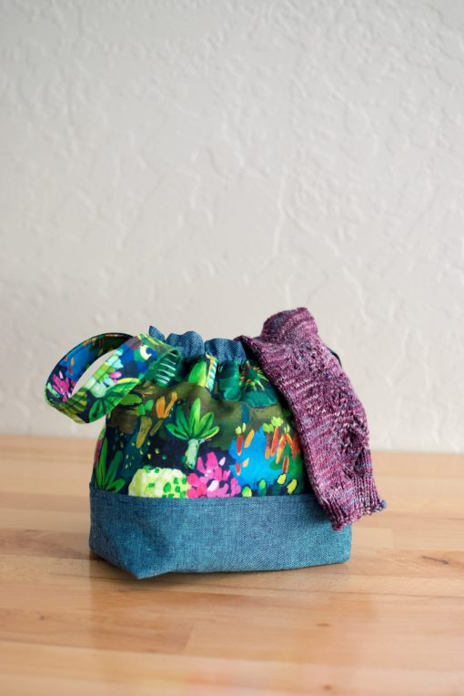 the opzet project bag in chambray and floral
