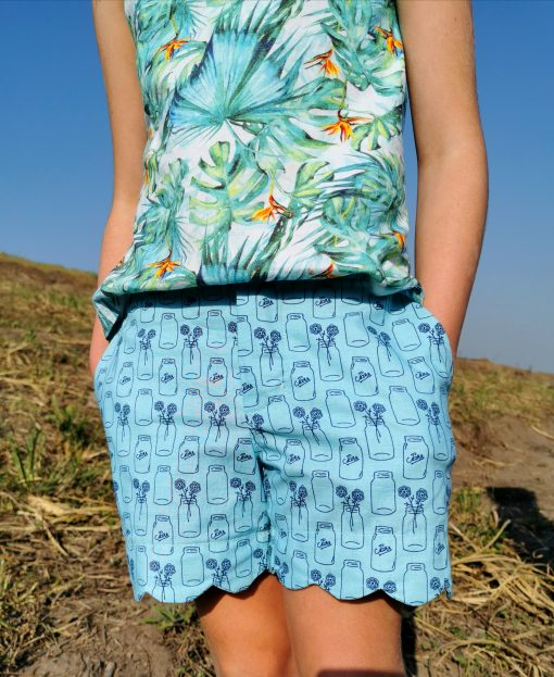 Front of blue shorts made from The Blij Shorts Sewing Pattern