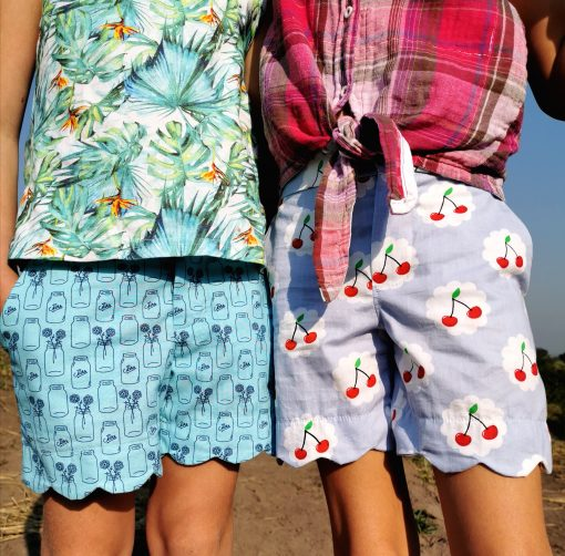 Girls wearing shorts made from The Blij Shorts Sewing Pattern