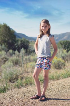 Girl wearing Southwest shorts made from The Blij Shorts sewing pattern