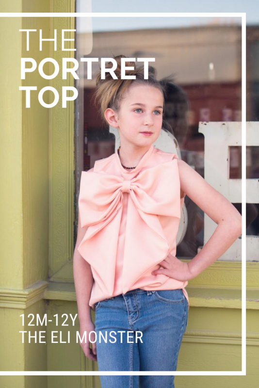 The Portret Top Sewing Pattern cover image with information and girl in pink bow shirt