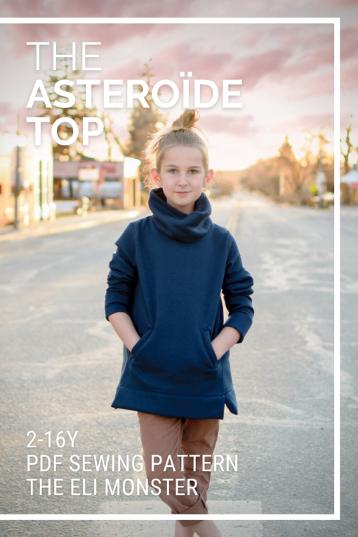 Girl wearing navy sweatshirt made from The Asteroide Sweatshirt Sewing Pattern