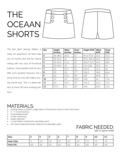 The Zee Skort Sewing Pattern Information Image