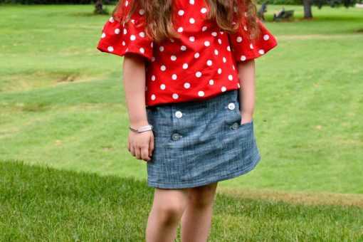 Girl wearing chambray skort made from The Zee Skort Sewing Pattern
